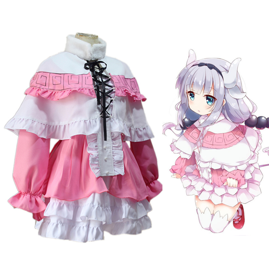 Anime Kobayashi san Chi no Maid Dragon Cosplay Costumes Miss Kobayashi's Dragon Maid Kanna Kamui Uniform Full Set Lolita Dress