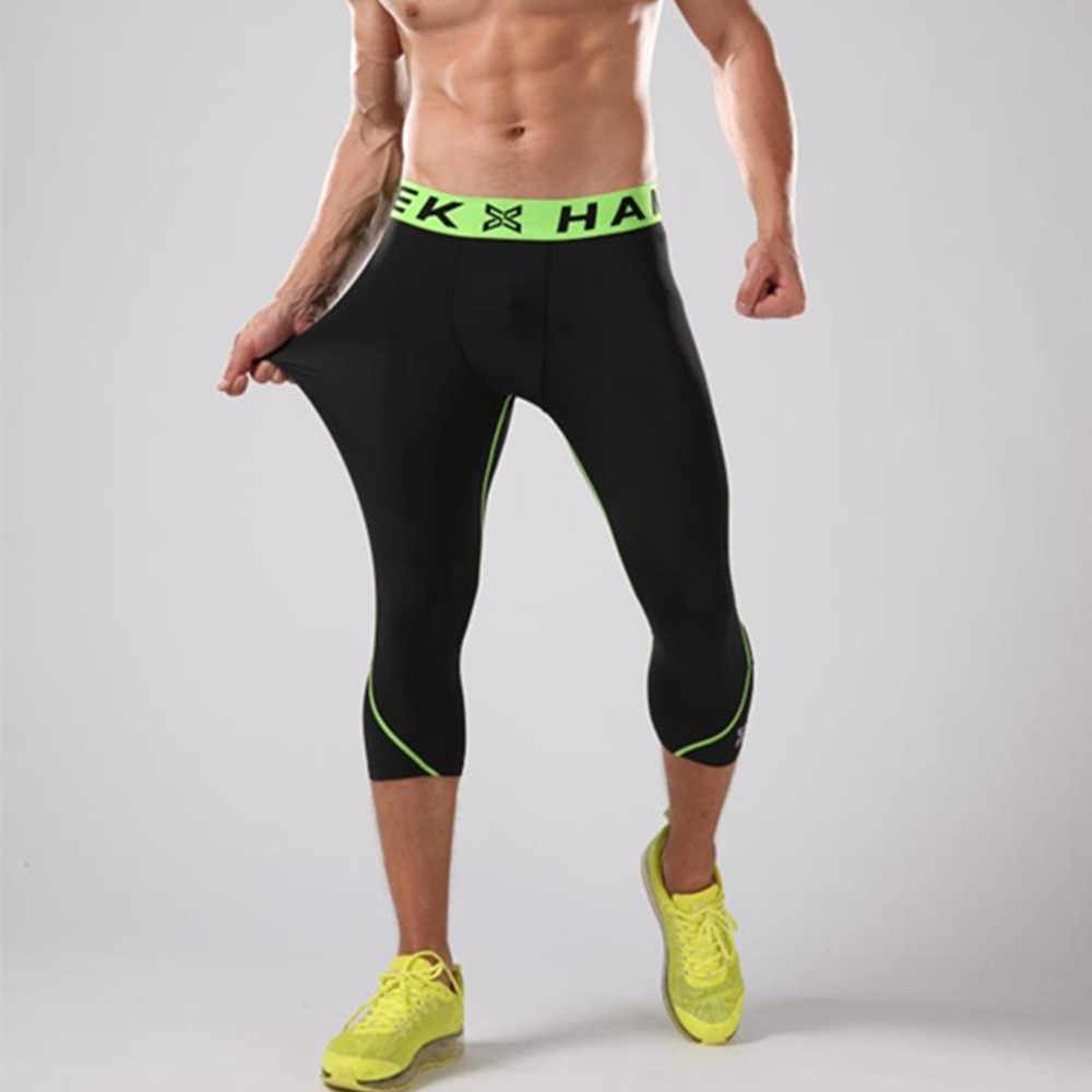 26a8f1c31fb37 ... HAMEK New 3/4 Compression Running Pants Men Cropped Tights Basketball  Leggings Sport Trousers Gym ...
