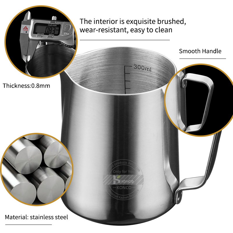 KONCO Inner Scale Espresso Coffee Milk Frothing Pitcher Stainless Steel Creamer Macchiato Cappuccino Latte Art Maker Pitcher Cup in Milk Jugs from Home Garden