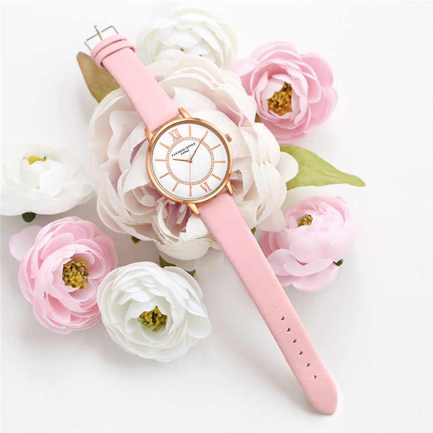 Nuevo listado de Relojes de Mujer de cuero reloj de Mujer vestido de Mujer reloj de pulsera de cuarzo Montre Mujer Relojes Mujer Zegarek Damski # E