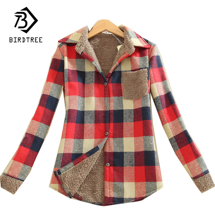 Nueva moda de invierno de las mujeres Camisas Casual Rebeca cálido camisa de manga larga Mujer engrosamiento de lana Plaid Tops blusa T78401A