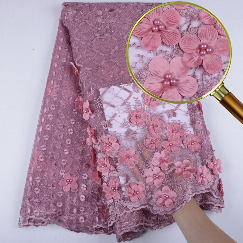 Onion African Lace Fabric 2019 High Quality 3D Flowers Lace French Net Lace Fabrics 2019 Nigerian