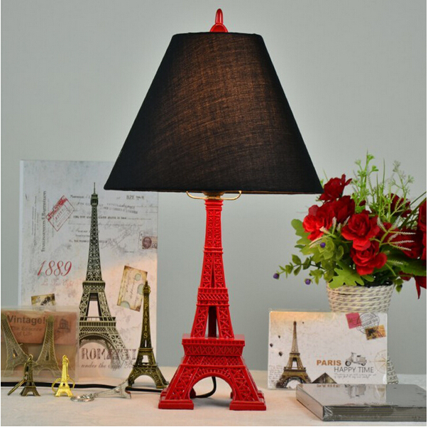Lowest price vintage fabric Eiffel tower led e27 table lamp for living room bed room bedside wedding decor light 110/220V 1259 lowest price 2017 super price maxidiag md801 code reader scanner for obd1 obdii protocol free shipping