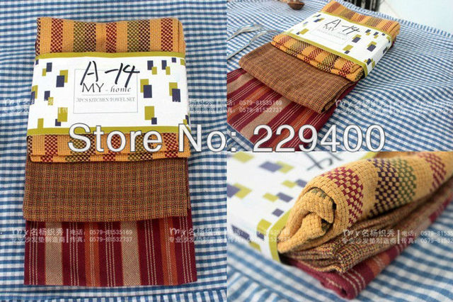 Manufacturers wholesale cotton kitchen towel wipes the table table cloth multi-purpose towel color cloth stripes of 3 pieces