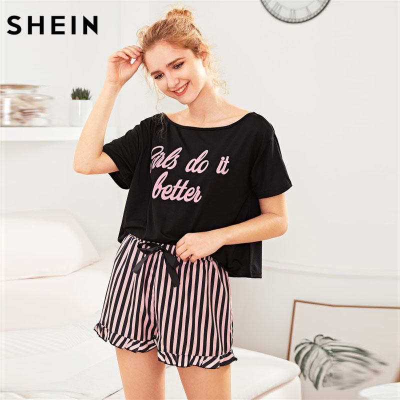 0c57e4954d SHEIN Letter Print Short Sleeve Top and Striped Shorts Pajama Set Ladies  Summer Sleep Wears Womens Casual Pajama Sets