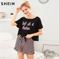 SHEIN Letter Print Short Sleeve Top And Striped Shorts Pajama Set Ladies Summer Sleep Wears Womens