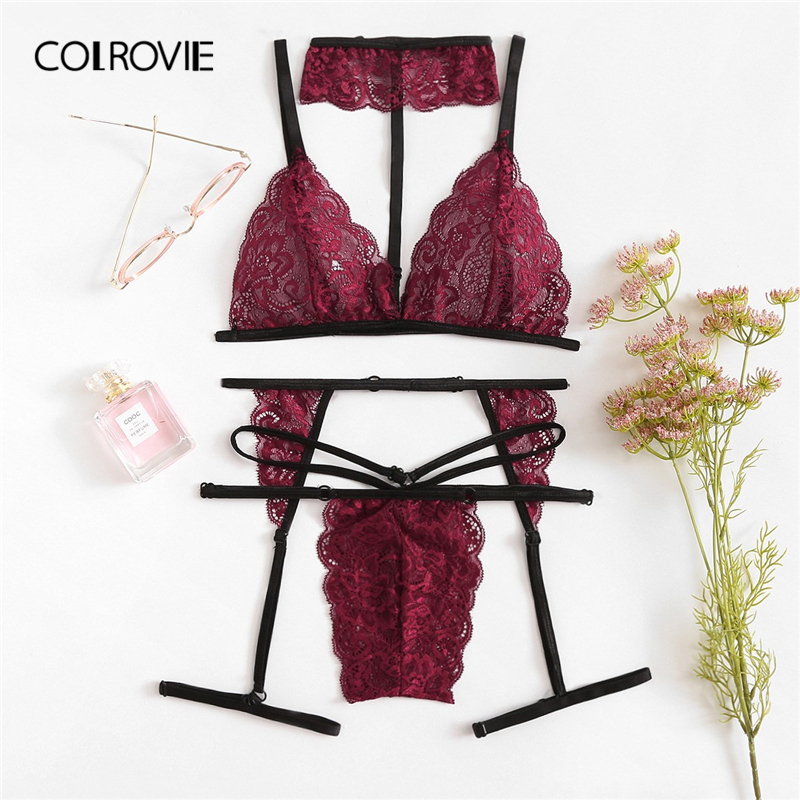 COLROVIE Burgundy Scalloped Trim Floral Lace Garter Thongs And Strings Lingerie   Set   Women Intimates 2019 Pink Underwear   Bra     Set