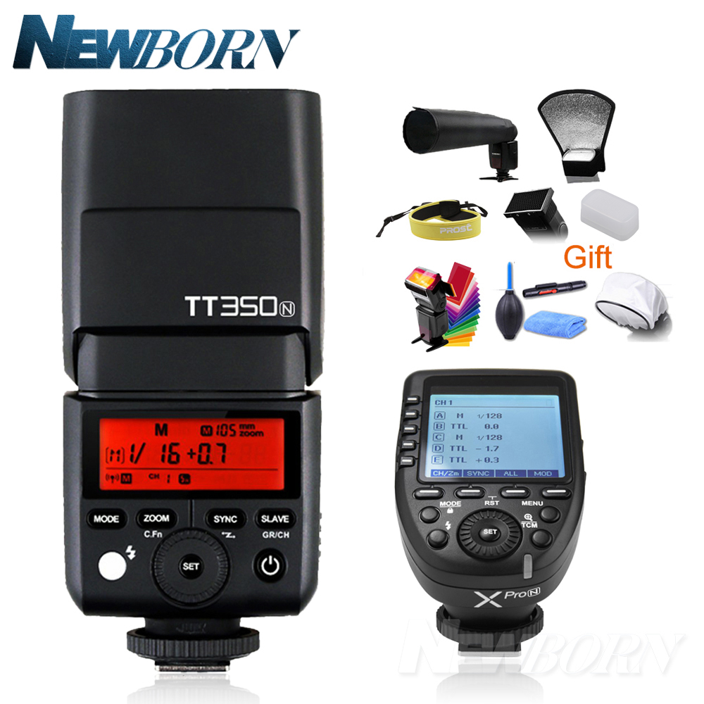 Godox TT350N Mini Speedlite Camera Flash + Xpro-N TTL 2.4G HSS 1/8000s Wireless Trigger Transmitter for Nikon DSL Camera+Gift 2x godox tt685 tt685n 2 4g wireless hss 1 8000s i ttl camera flash speedlite xpro n ttl trigger for nikon dslr camera
