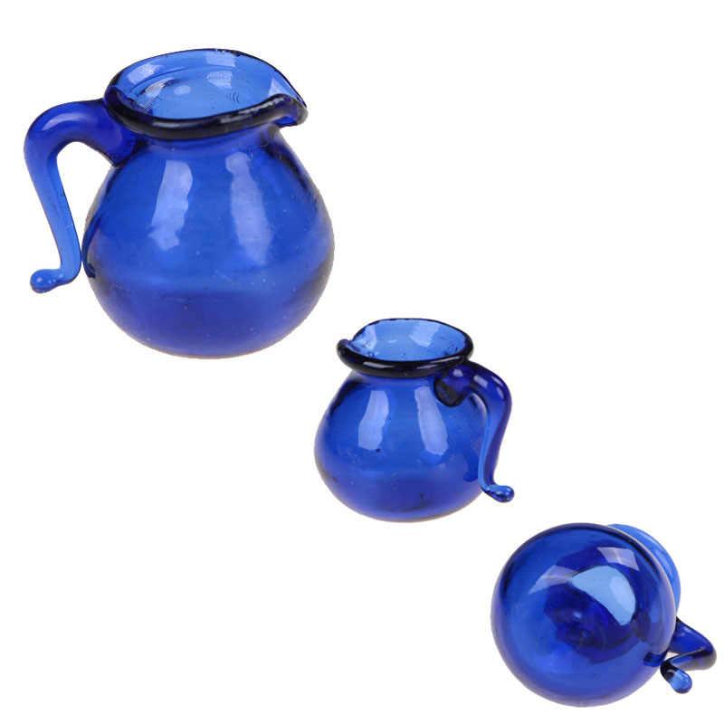 1PC ห้องรับประทานอาหารสีฟ้าเหยือกน้ำแก้วหม้อ Jar 1/12 ห้องครัว Jar Jar หม้อ Dollhouse Miniature