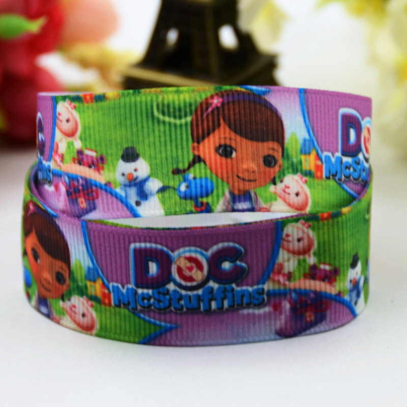 7/8 (22mm) Doc McStuffins Cartoon Character printed Grosgrain Ribbon satin ribbons Party decoration OEM X-00382 10 Yards