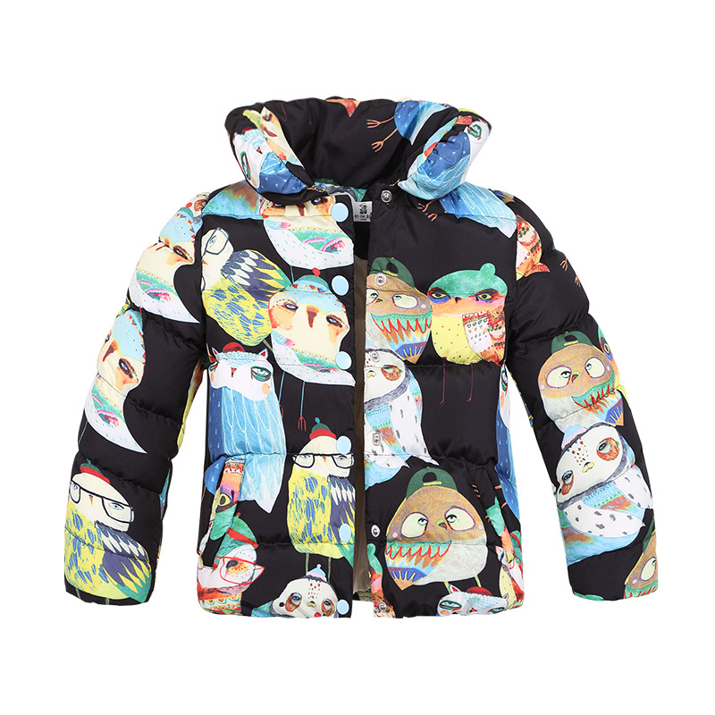 KAMIWA 2017 Owl Printing Girls Winter Coats And Jackets Kids Outwear Warm Down Padded Clothes Parka Children Baby Girls Clothing