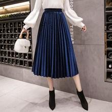 Spring Plus Size 3Xl Midi Velvet Skirt Casual High Waist Large Swing Pleated Skirts все цены