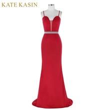 2017 Robe de Soiree Red Beading Evening Dresses Bride Prom Dress Sexy Sleeveless Long Mermaid Evening Gowns Dinner Formal Dress
