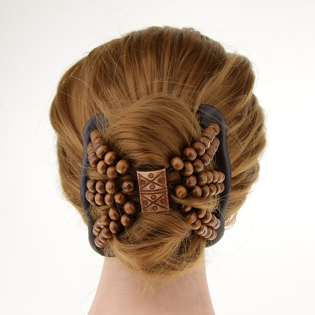Beauty Thick Hair Double Clip Wood Beads Combs Bun Maker Hair Accessories For Girls Women Easy Updo Holds Long Short Hair Accs