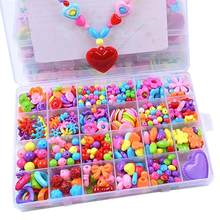 1 Set 24 Grid Lattice DIY Colorful Acrylic Beads Children Beaded Toys Handcrafts Materials Colorful Cartoon Fashion Beauty Girl(China)