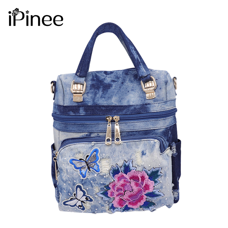 iPinee women multifunction backpack washed denim backpack school bag for girls teenagers flower embroidery large travel