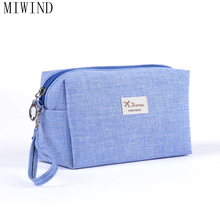MIWIND Canvas Women Cosmetic Toiletry Bag Travel Make up Toiletry Bags Makeup Organizer Case Carry-on Companion Zipper TYN836