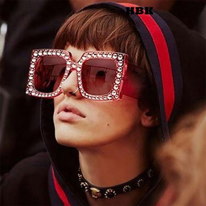 0d80f98930 HBK 2018 New Luxury Oversized Diamond Square Women Sunglasses Brand  Designer Mirror Sun Glasses Ladies Frame For Female Oculos-in Sunglasses  from Apparel ...