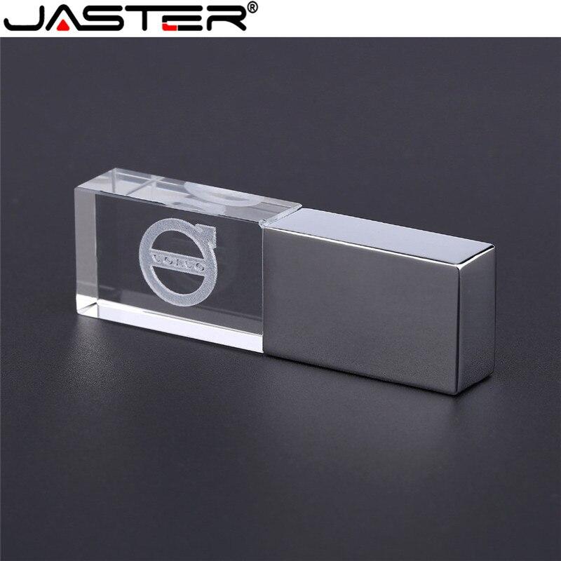 JASTER Volvo Crystal + Metal USB Flash Drive Pendrive 4GB 8GB 16GB 32GB 64GB 128GB Pendriver Memory Stick U Disk