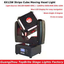 Коробка посылка 120 W светодиодный перемещение головы огни Высокое качество 6X12 W RGBW 4IN1 O-sra-m лампа полосы Cube перемещение головы Satge загорается