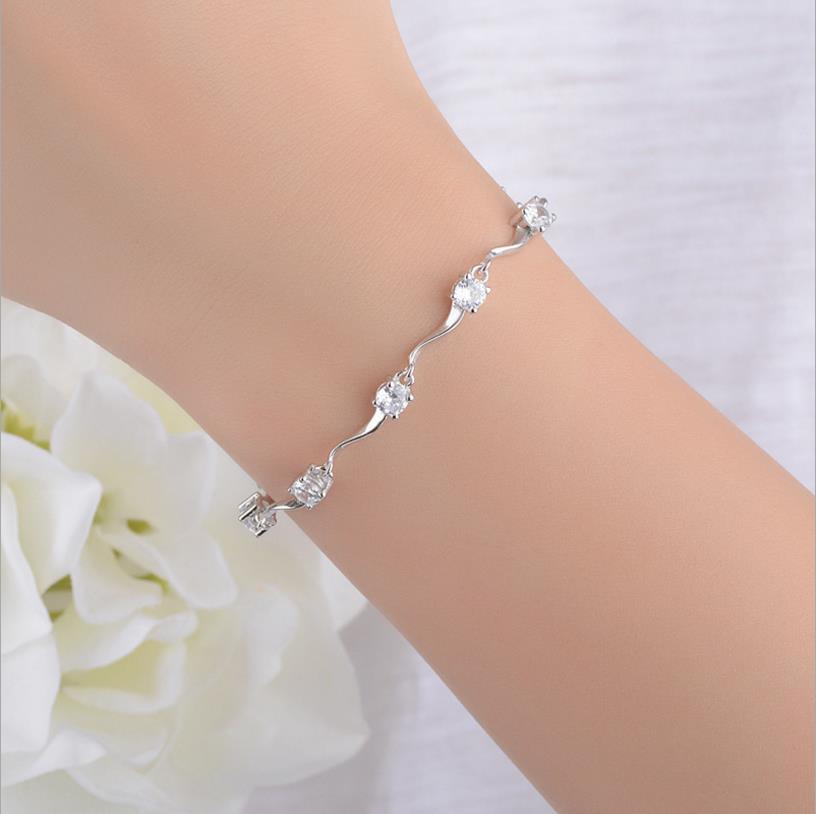 LUKENI 2018 Hot Sale Women 925 Sterling Silver Bracelets Jewelry Charm Female Crystal Stones Lady Lovers Christmas Gift Bijou