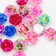 63d3f1b2aeaf Nuevo 20 unids 13mm doble color rosa flor Flatback Kawaii plana trasera  resina cabujón DIY artesanía