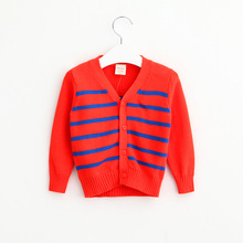 2016 Baby Girls Knit Striped Cardigan Kids Girls V-neck Crochet Sweater Girl Autumn Wool Blends Outwear Children's clothing