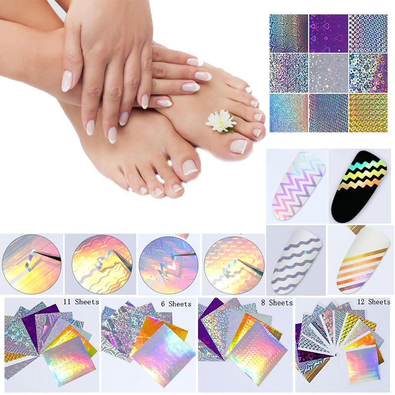 8 Colors 3D Nail Art Stick Decal Laser Stripe Pattern Glittery Shiny ...