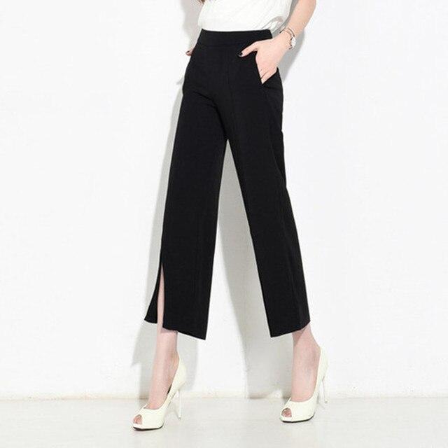 2017 New Ladies Wide Leg Pants Spring Summer Split Bottom Pant Women Office  Work Solid Black aa2d45de84b