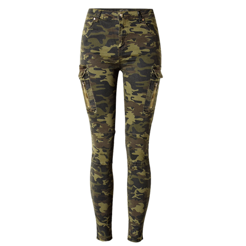 Military Style England Fashion Slim Skinny Jeans Women Camouflage Pockets Vintage Trousers Mujer Push Up Denim Pencil Pants 2018
