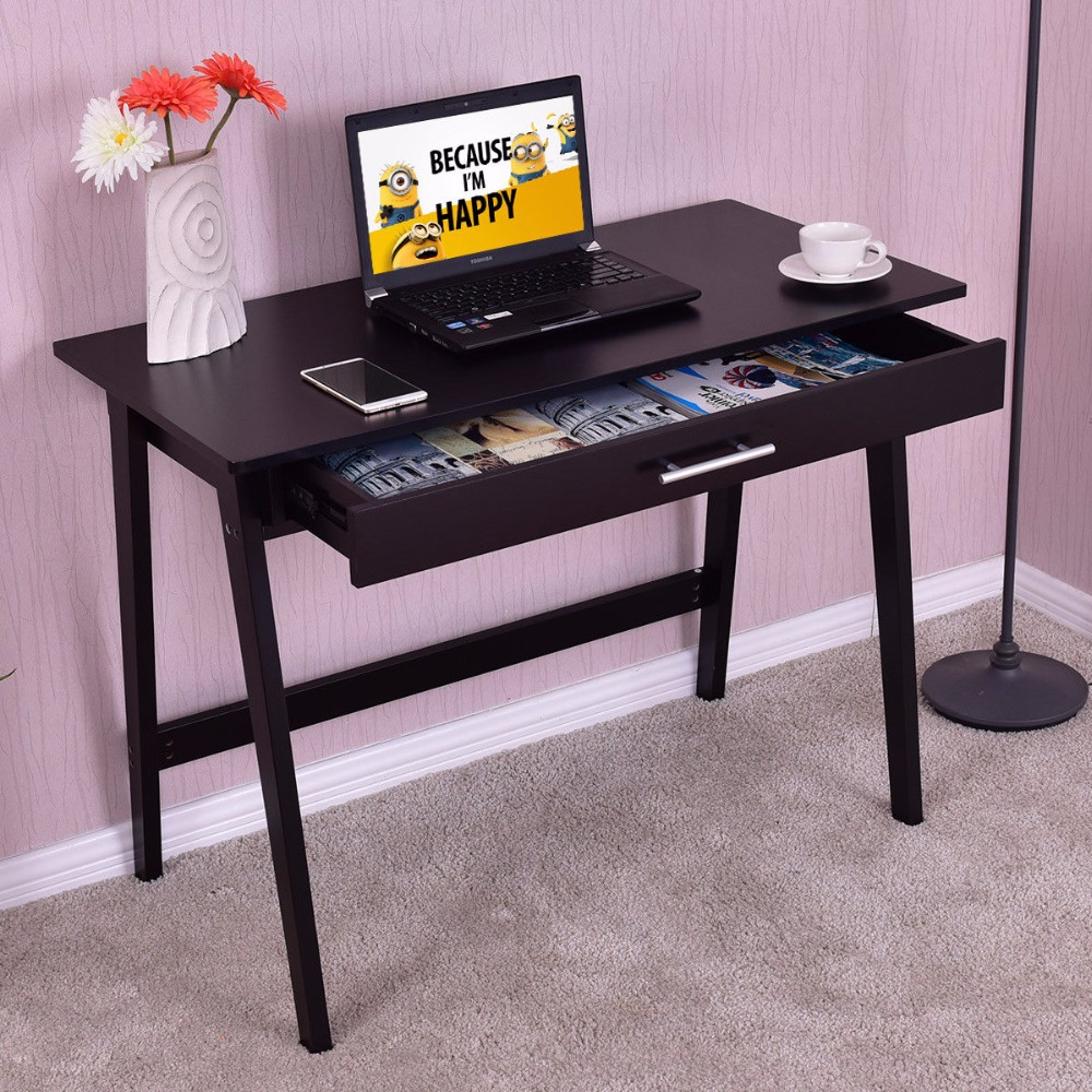 Goplus High Quality Computer Desk PC Laptop Writing Table Study Wokrstation With Drawer Home Office Modern Wooden Table HW56276