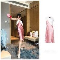 New single layered lace shoulder straps dress with pink satin stitching + F0540 sleeveless T shirt