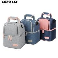 Hohe Qualität Doppelschicht Mode Tragbare Lunchpaket Lebensmittel Kühler Picknick taschen für Frauen Thermo Lunchbox Kinder Milch Tasche 3 Farben