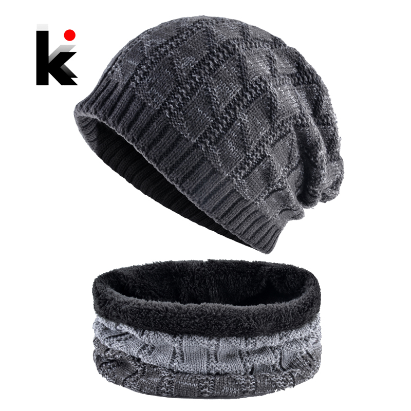Knitting Wool Hat And Scarf For Men Women Winter Outdoor Thick Warm Skullies Beanies Ski Cap Scarves Sets Knitted Bonnet Gorro