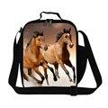 El último caballo marrón bolsa de almuerzo para los niños de la escuela niños bolsa de almuerzo con aislamiento bolsos más frescos bolsa lonchera animal print para las muchachas bolsa de comida