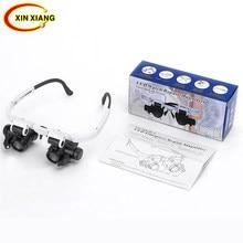 864d9c13af548 Ajustável 2 LED Óculos Lupa Lupa Para Soldar 8X 15X 23X Watachmaker Repair Lupa  Lupa Lente De Vidro Óptico