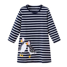 Jumping meters stripes Girls dresses knitted cotton children clothes fashion baby girl clothes frocks casual dress
