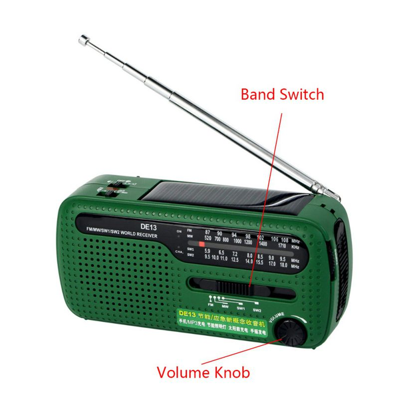 Green FM Radio DE13 FM MW SW Crank Dynamo Hand-cranked Solar Emergency Radio World Receiver with Flashlight Radio tivdio v 116 fm mw sw dsp shortwave transistor radio receiver multiband mp3 player sleep timer alarm clock f9206a