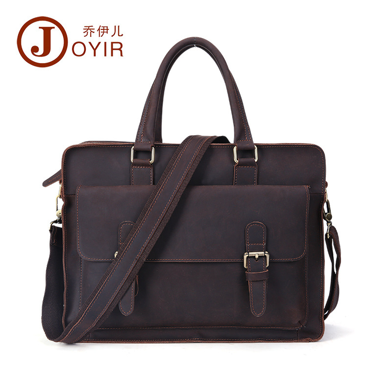 JOYIR 2017 Fashion leather Laptop bag casual Men's travel hand bags leather briefcase crazy horse business single shoulder bags планшет samsung galaxy tab e sm t561 1 5гб 8gb 3g android 4 4 черный [sm t561nzkaser]