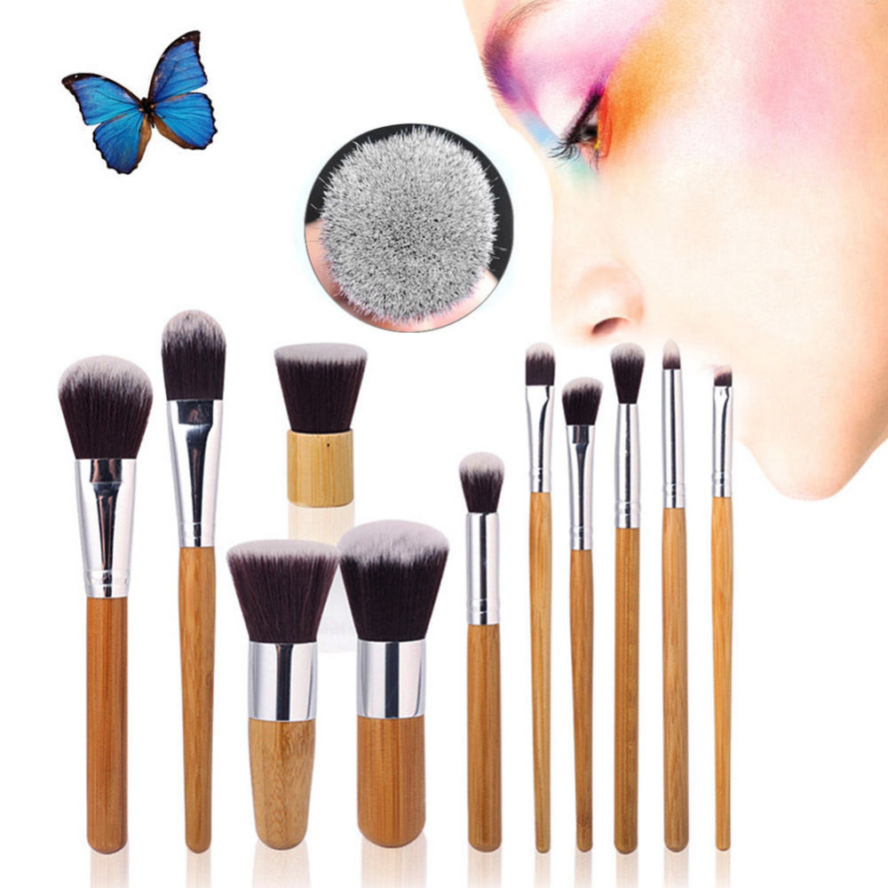 Pro 11Pcs Set Makeup Brushes Cosmetics Tools Bamboo Handle Eyeshadow Lipsticks Kabuki Face Foundation Brush Blush Brush Kits 2017 pro 1 pcs bamboo handle eye brushes makeup flat brushes cosmetics professional makeup brush set hairbrush ap253