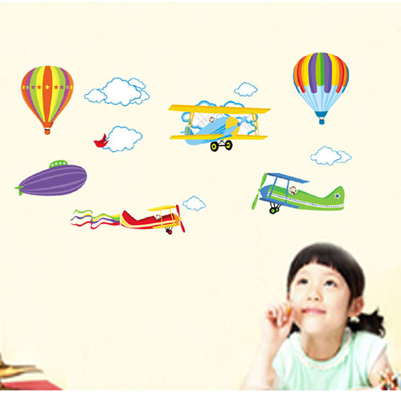 1pcs Wall Stickers For Kids Rooms Airplane Hot Air Balloons Home Decor Mural Vinyl Wall Sticker Children Room Wall Decals Poster image
