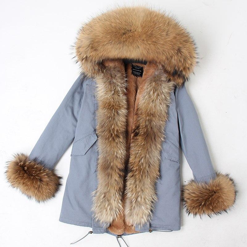 Image 4 - abrigos mujer invierno 2018 mini True Fur Parka women winter  Hooded jacket coat Parkas faux fur coat Lining jacket long coatParkas