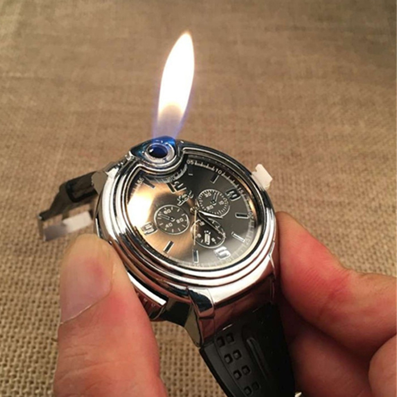 Модные масла легче наручные часы огонь Металлический Мини Зажигалка Факел курение многоразового бутан кварцевые часы для человека