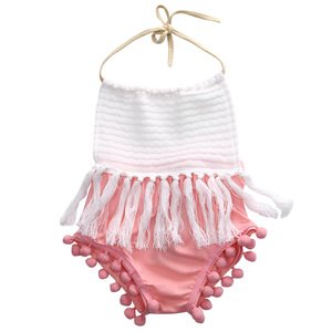 Summer Cute Baby Halter Tassel Bodsuit Newborn Infant Baby Girls Bodysuit Tassels Jumpsuit Outfits Sunsuit Cute Kid Clothing(China)