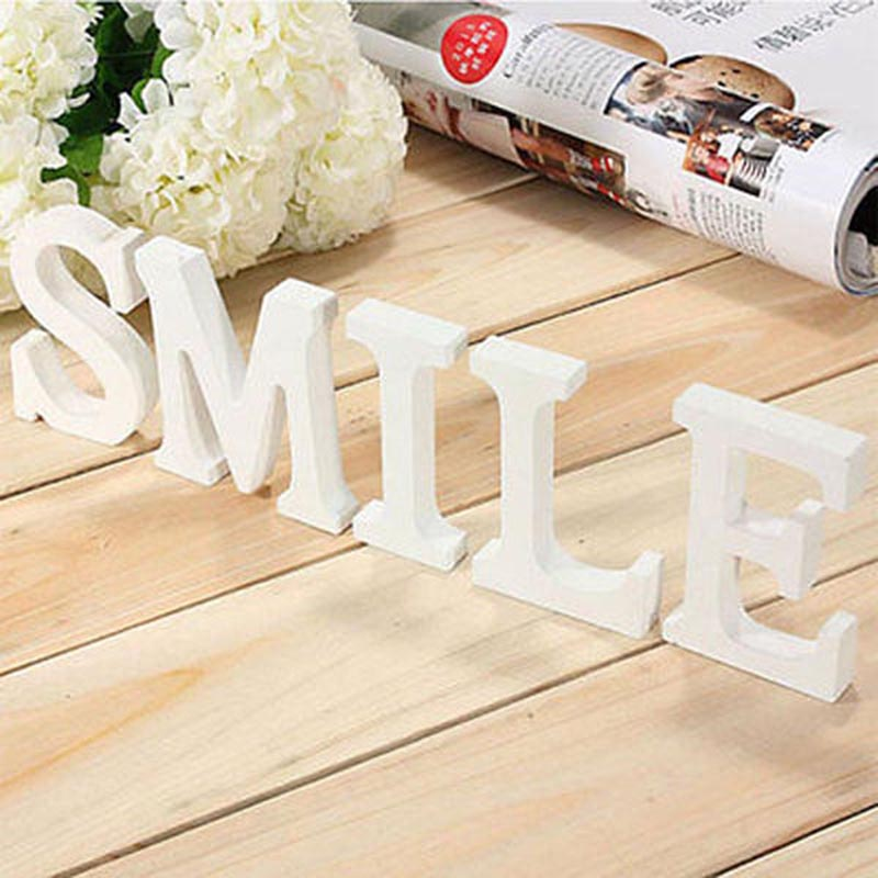 Wooden Letters White Wood Alphabet Decorative Crafts Romantic Home Birthday Party Event Wedding Decorations Supplies Kids