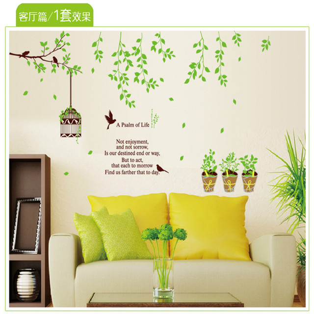 Birdcage flower vine home Bedroom living room kitchen hallway wall art Background fashion wall sticker home decoration AY9035-in Wall Stickers from ...