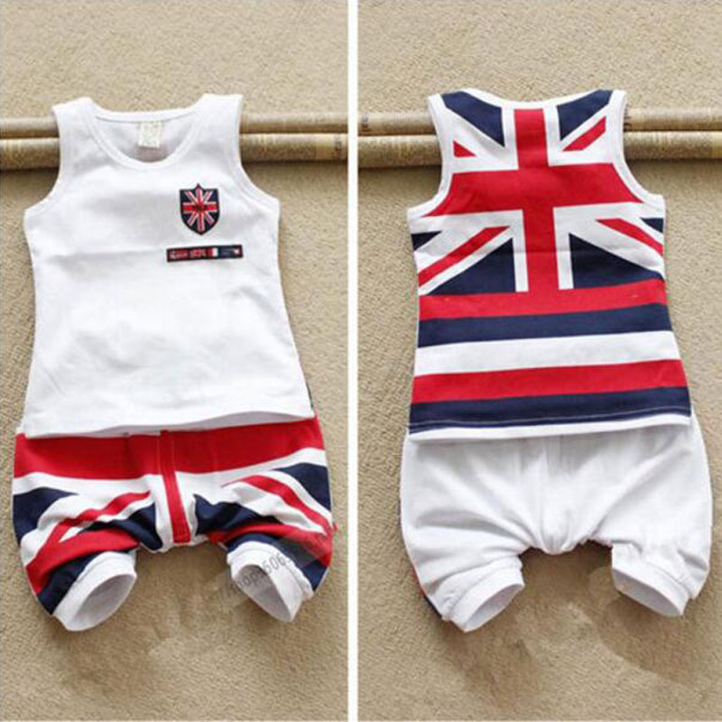 summer 2015 boy children kids clothing clothes sets suit brand cotton costume set Sleeveless fashion england flag design infant