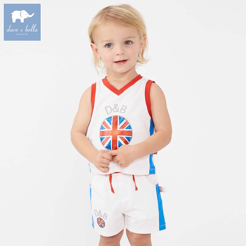 DB7615 dave bella summer infant toddler boys sport suit children V-neck clothing sets baby sleeveless play cool boys sets 2016 new summer baby sport suit 100