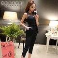 Dabuwawa 2016 calças siameses do sexo feminino tamanhos grandes senhoras da mulher moda casual macacões mulheres preto