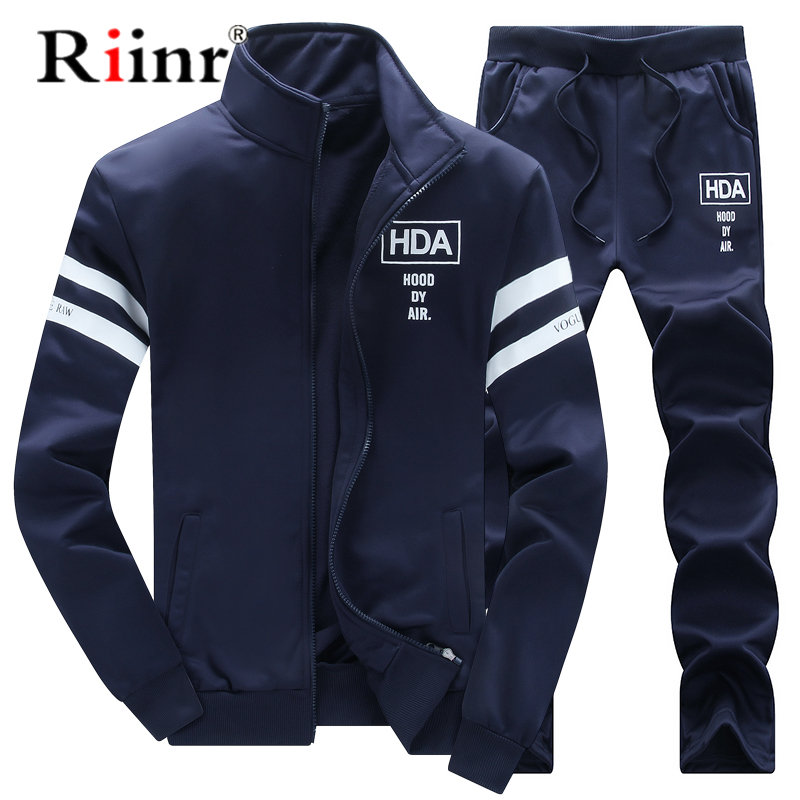 2019 New Men's Casual Sportwear Suit Autumn Spring Designer Embroidery Male Baseball Jersey Suit For Men Leisure Suits